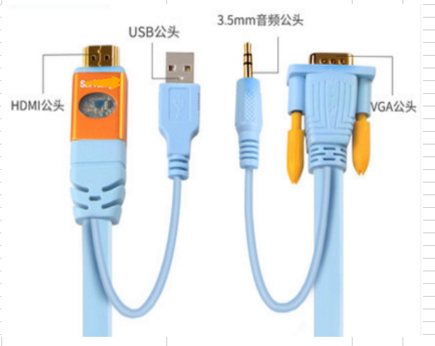 HDMI male  to VGA male  with male audio cable
